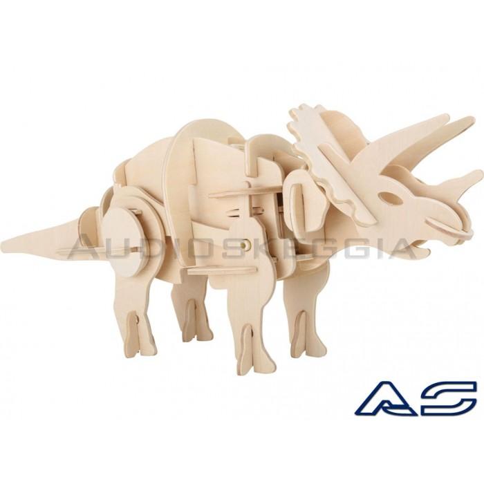 Triceratopo con movimento gambe. In legno. Da Montare.